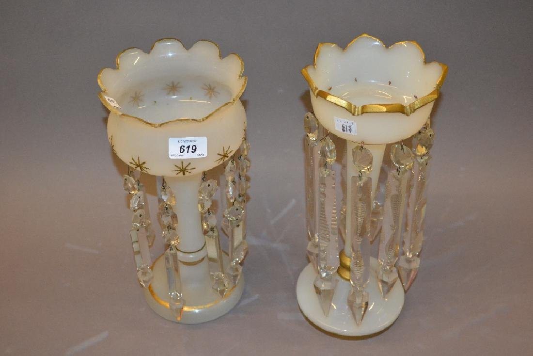 Two 19th Century opaque and gilt decorated lustres with