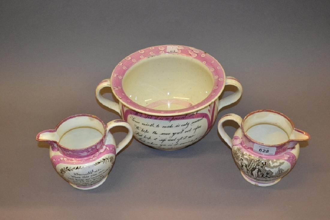 Two 19th Century Sunderland lustre motto jugs (slight