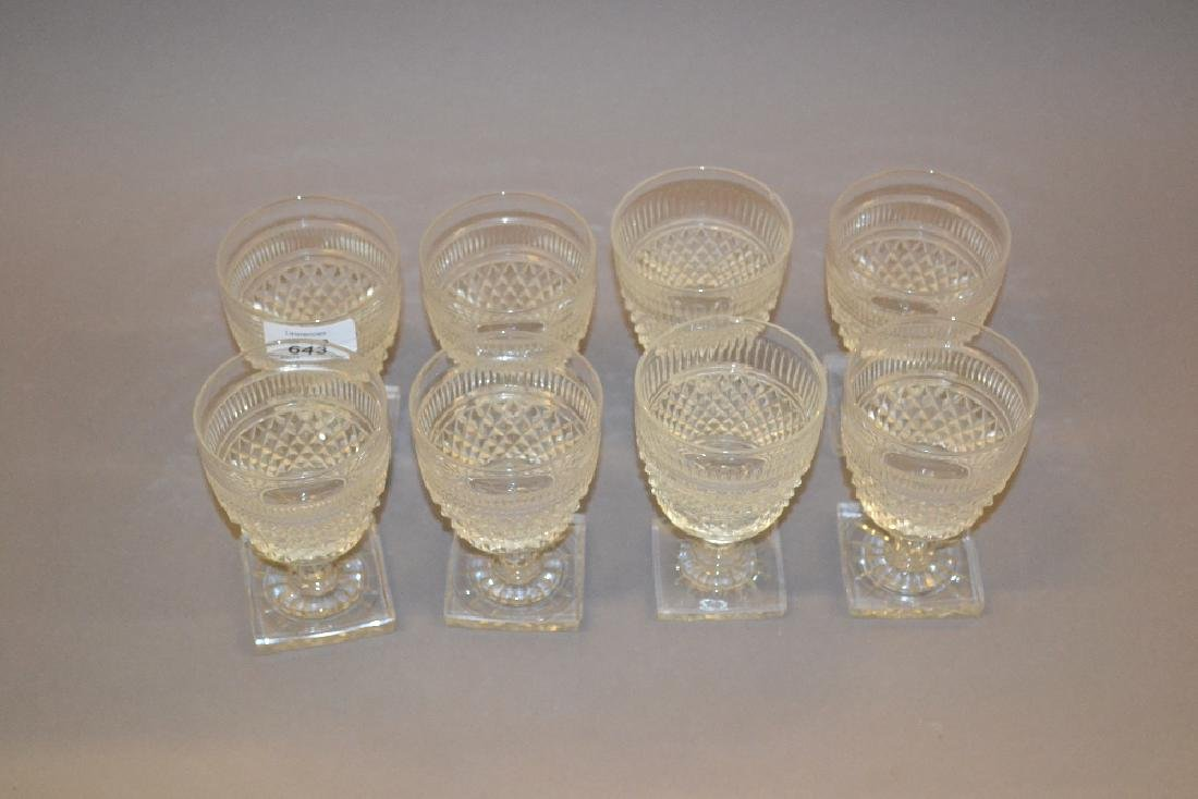 Group of eight Edwardian cut glass wine goblets in