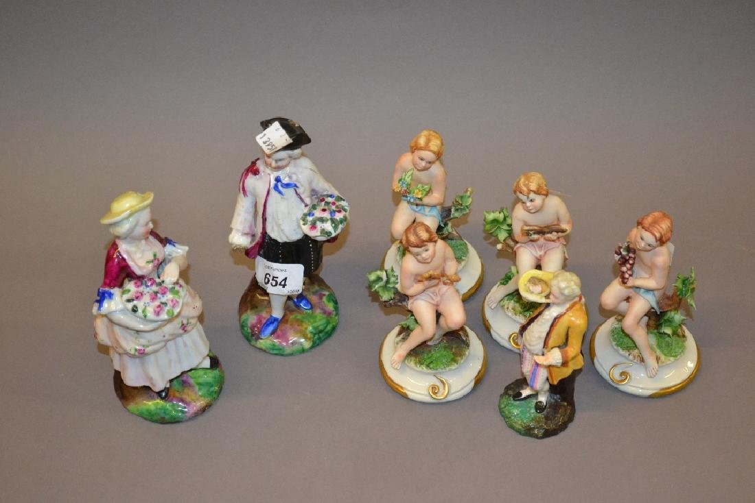 Pair of French porcelain figures, another musician