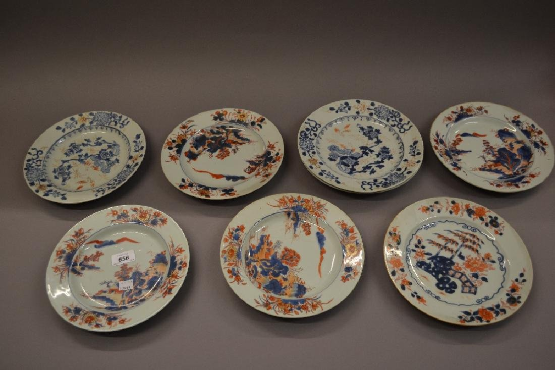 Eight various Chinese porcelain plates floral painted