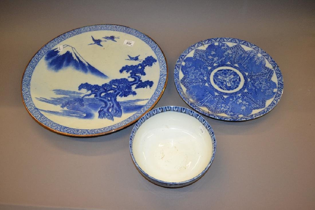 Large Japanese blue and white charger decorated with a