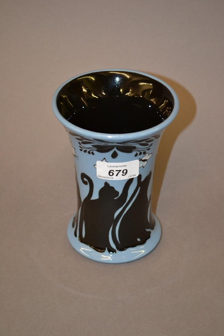 Modern Moorcroft vase decorated with black cats and