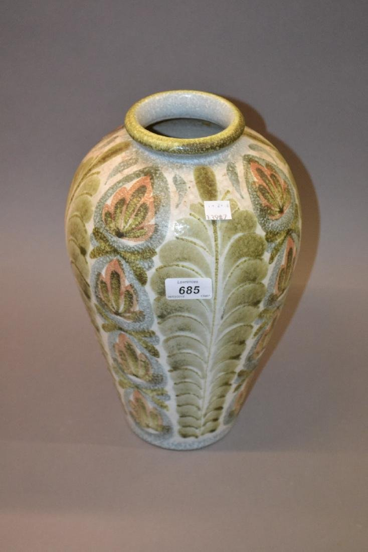 Large Denby stoneware baluster form vase painted with