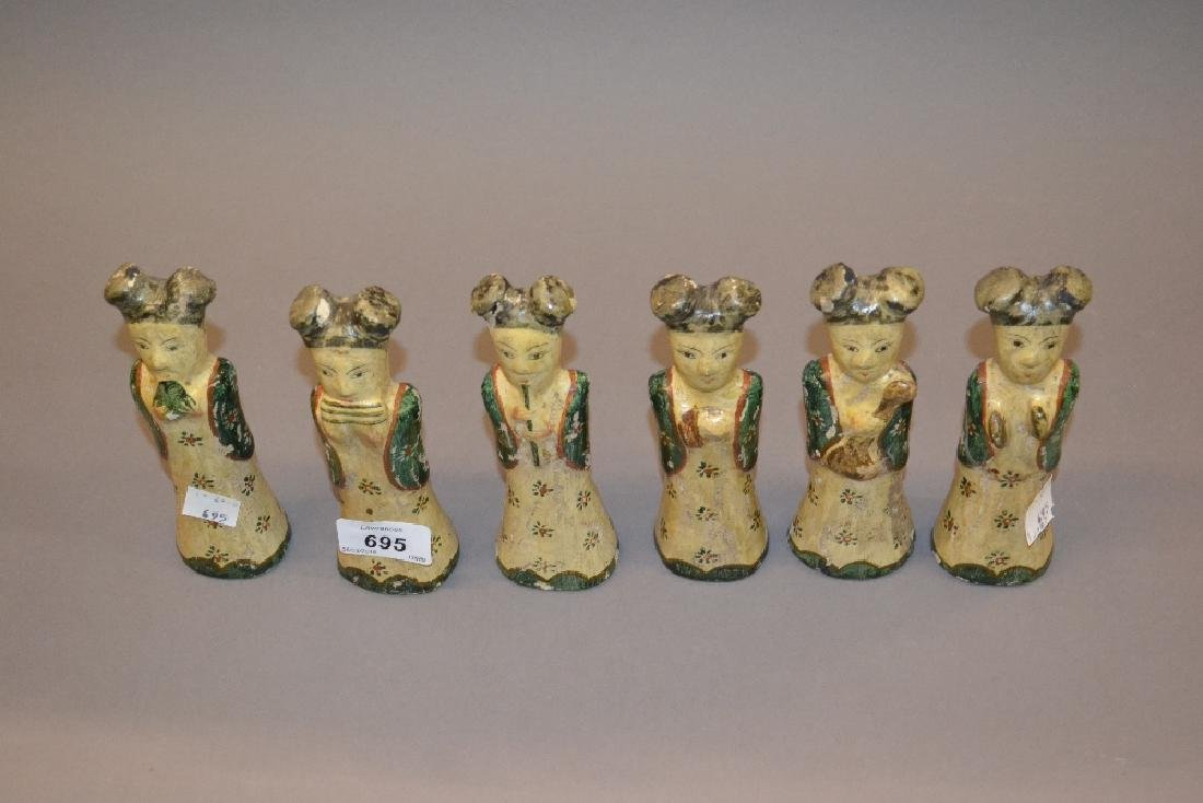 Set of six oriental pottery figures of ladies with