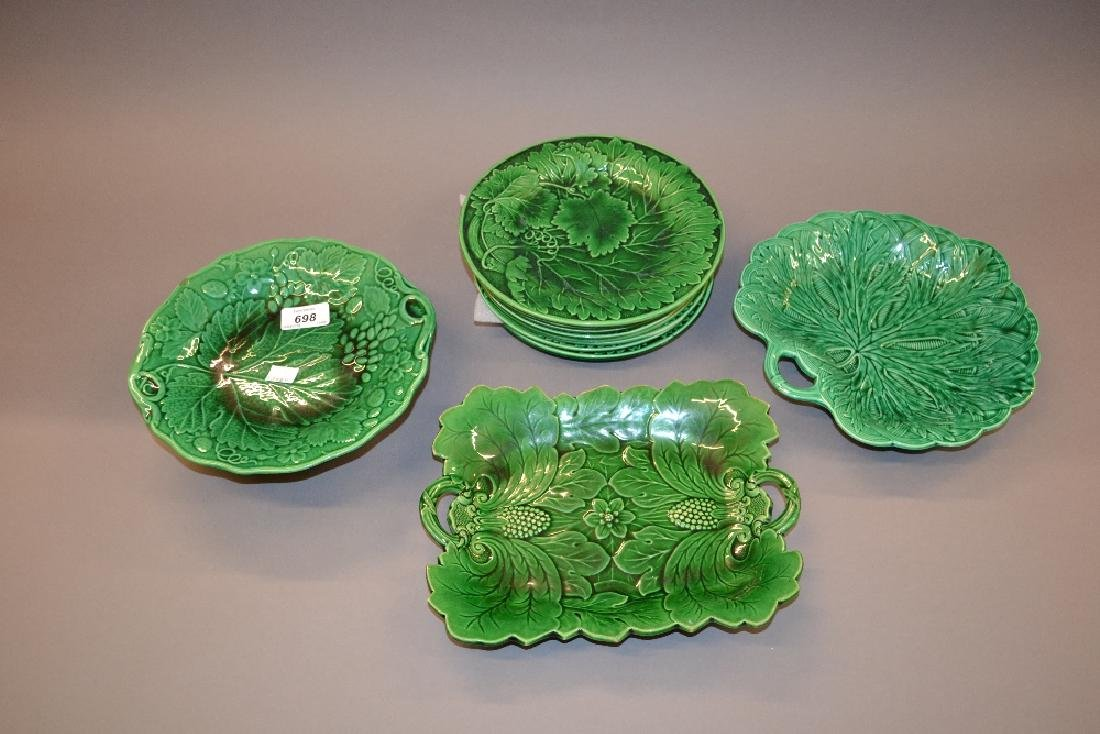 Quantity of various green glazed plates including:
