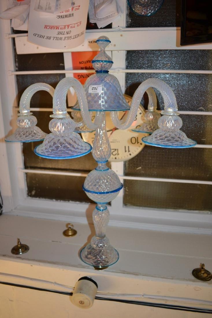 Venetian opalescent glass six branch chandelier (one