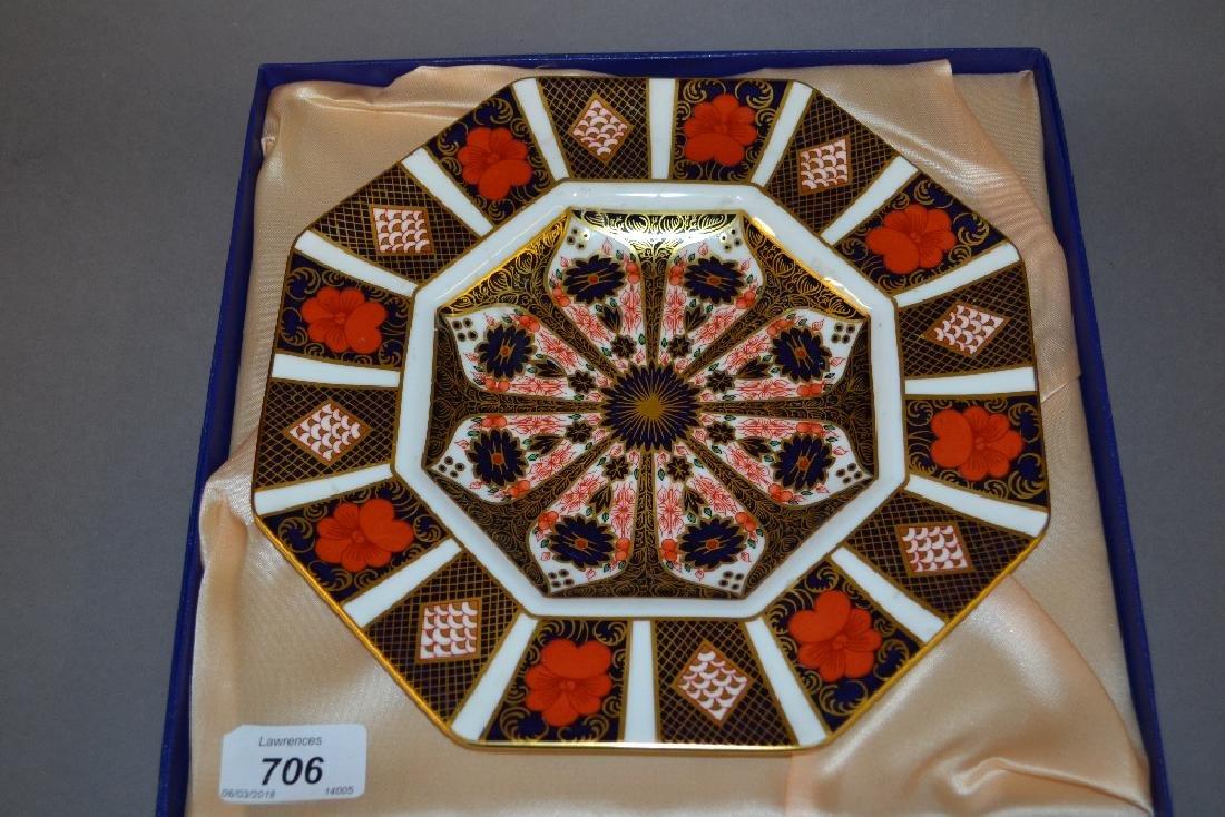 Boxed Royal Crown Derby Imari plate