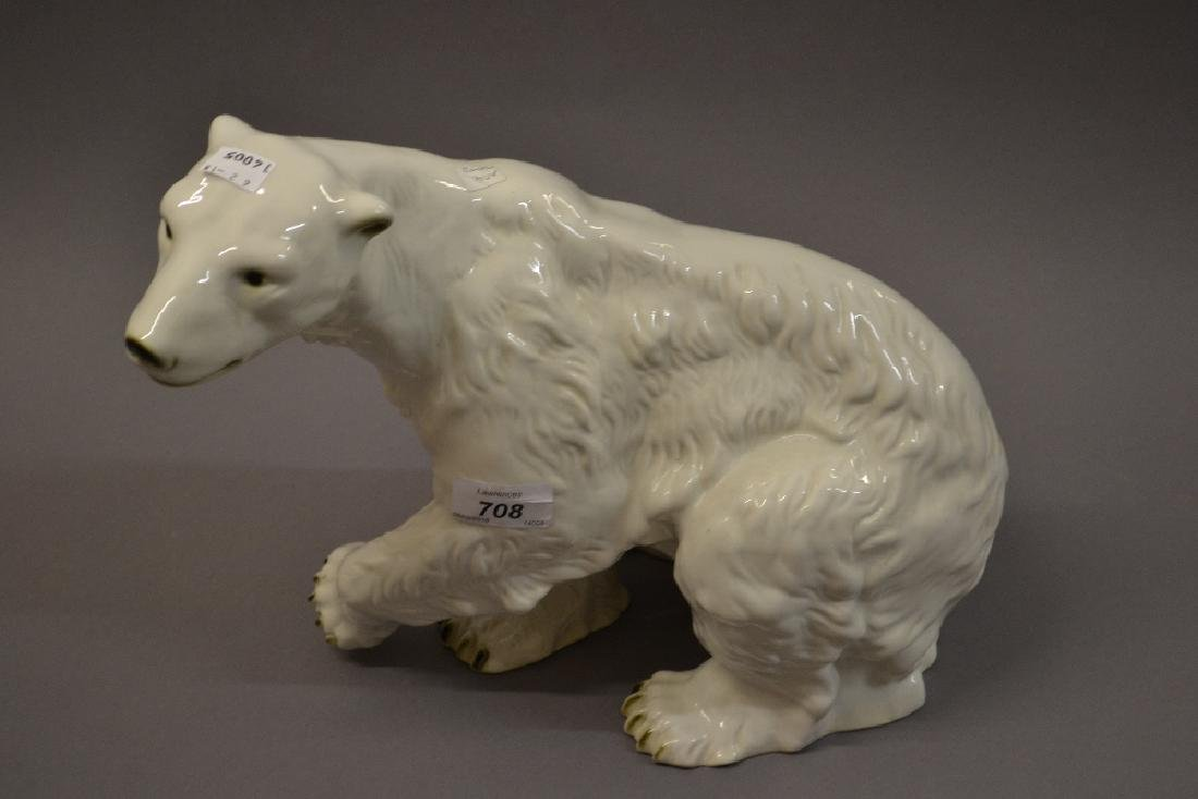 Large Royal Dux figure of a seated polar bear, 11ins