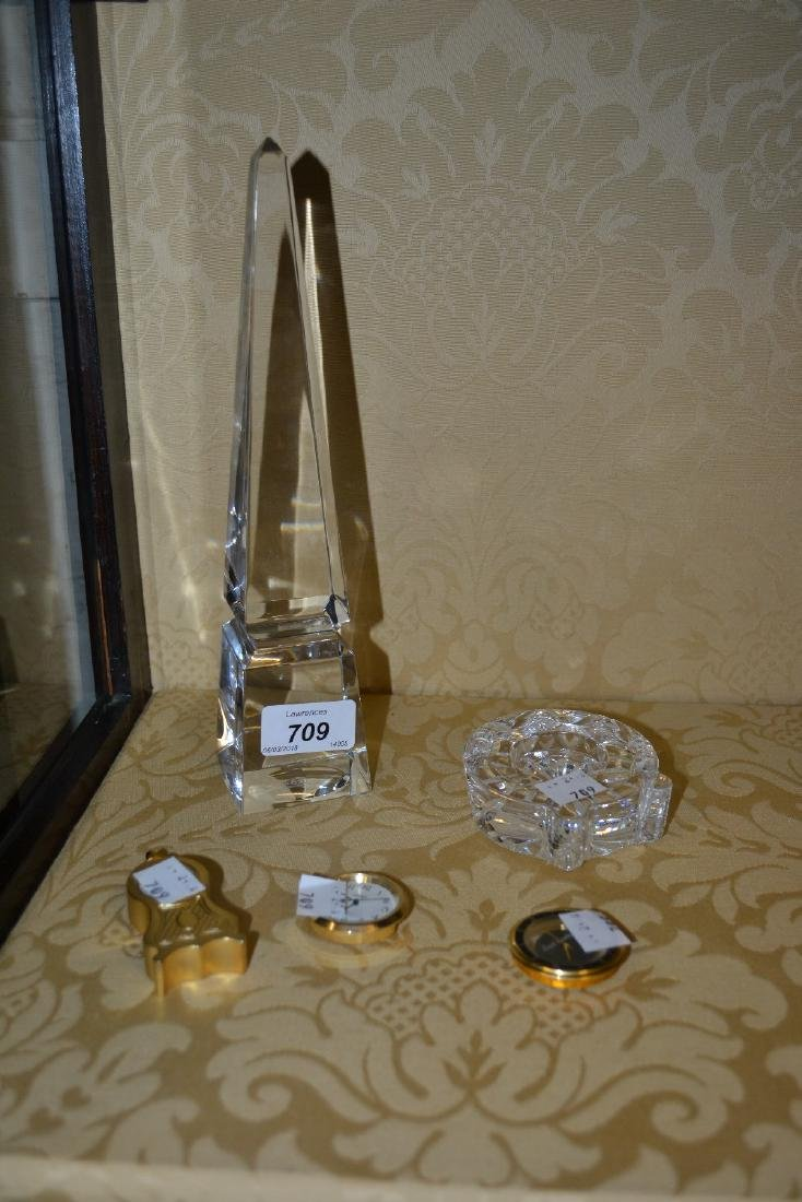 Baccarat glass obelisk (chip to top) together with two