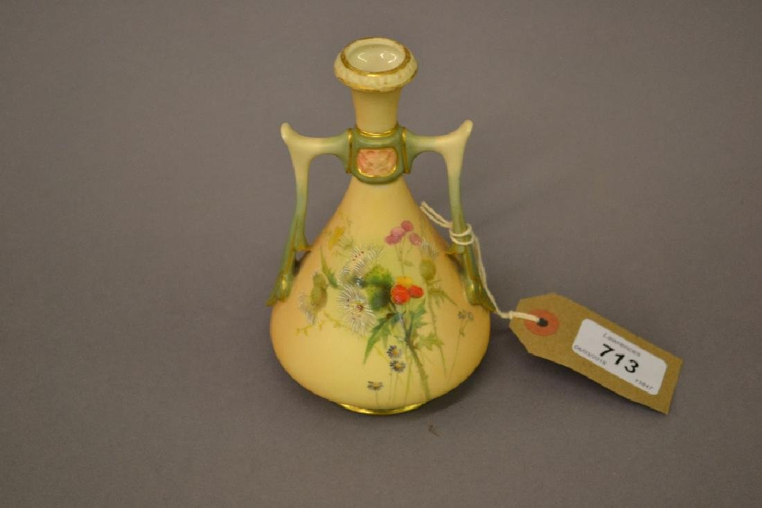 Royal Worcester blush ivory two handled narrow neck