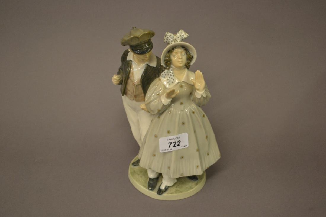 Royal Copenhagen figure of a young girl and suitor,