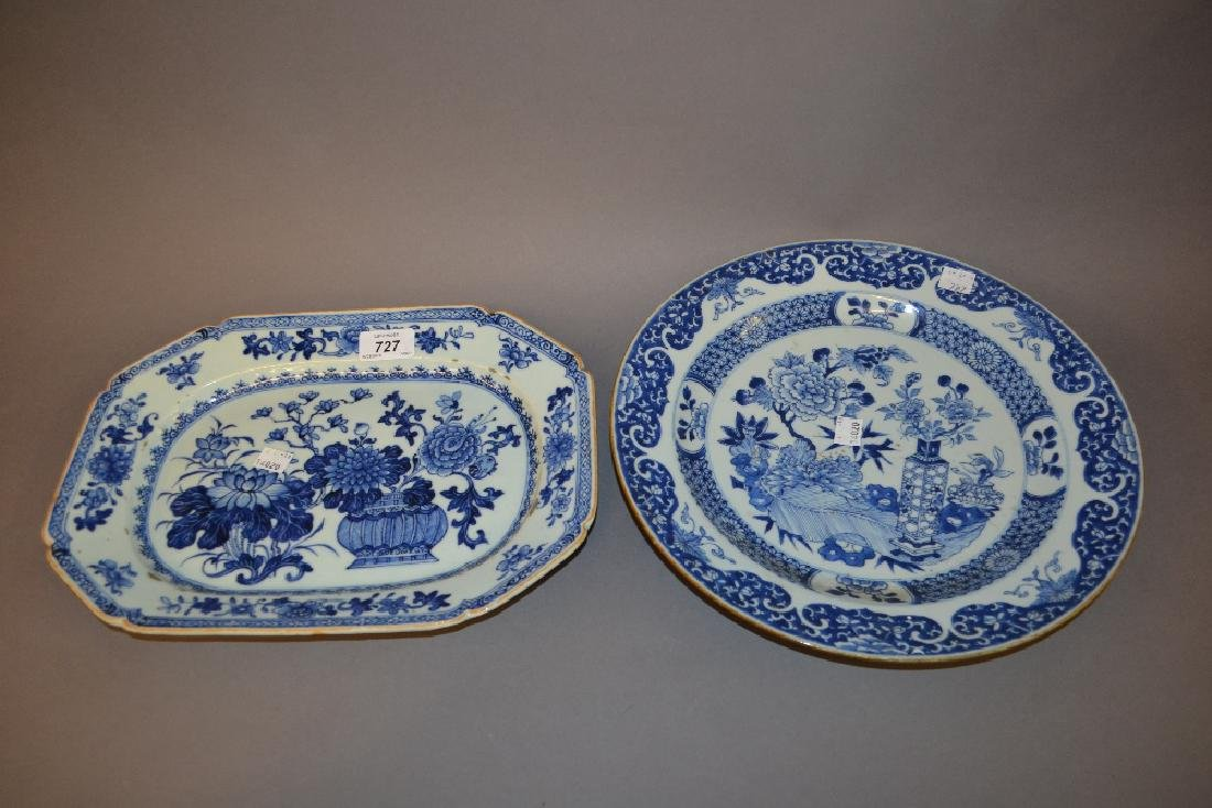 Two 19th Century blue and white floral decorated plates