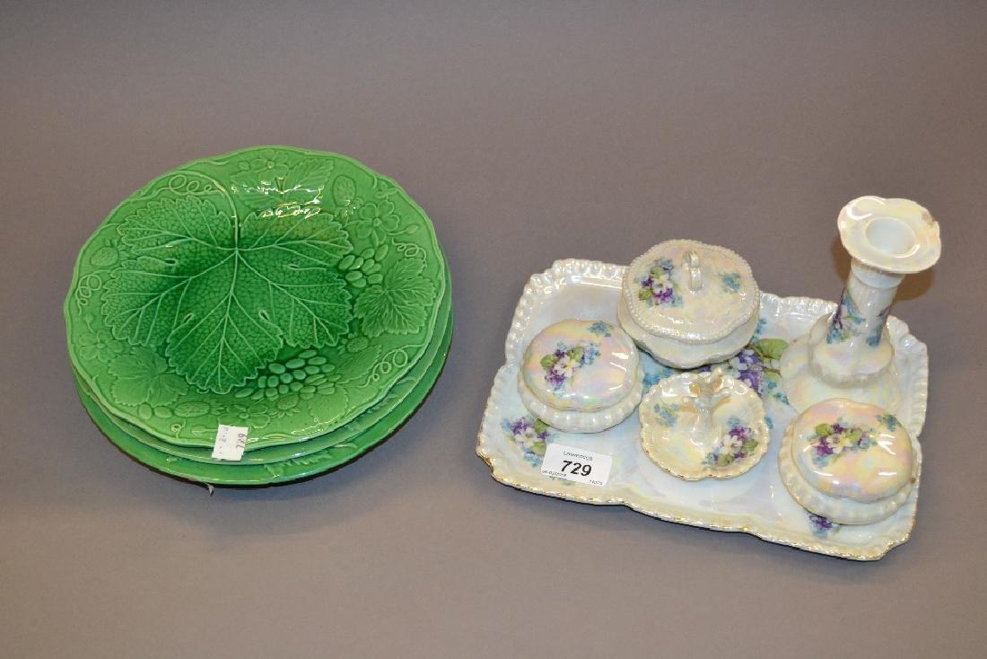 Lustre porcelain dressing table set on tray together