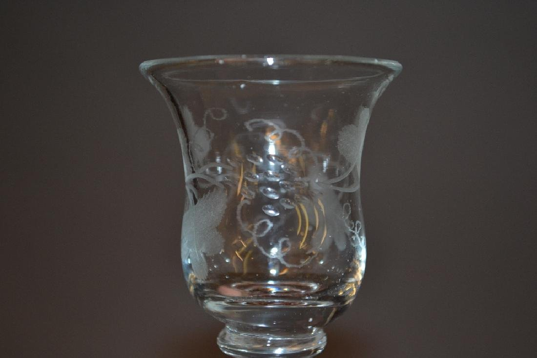 Set of six small etched knopped stem glasses in - 2