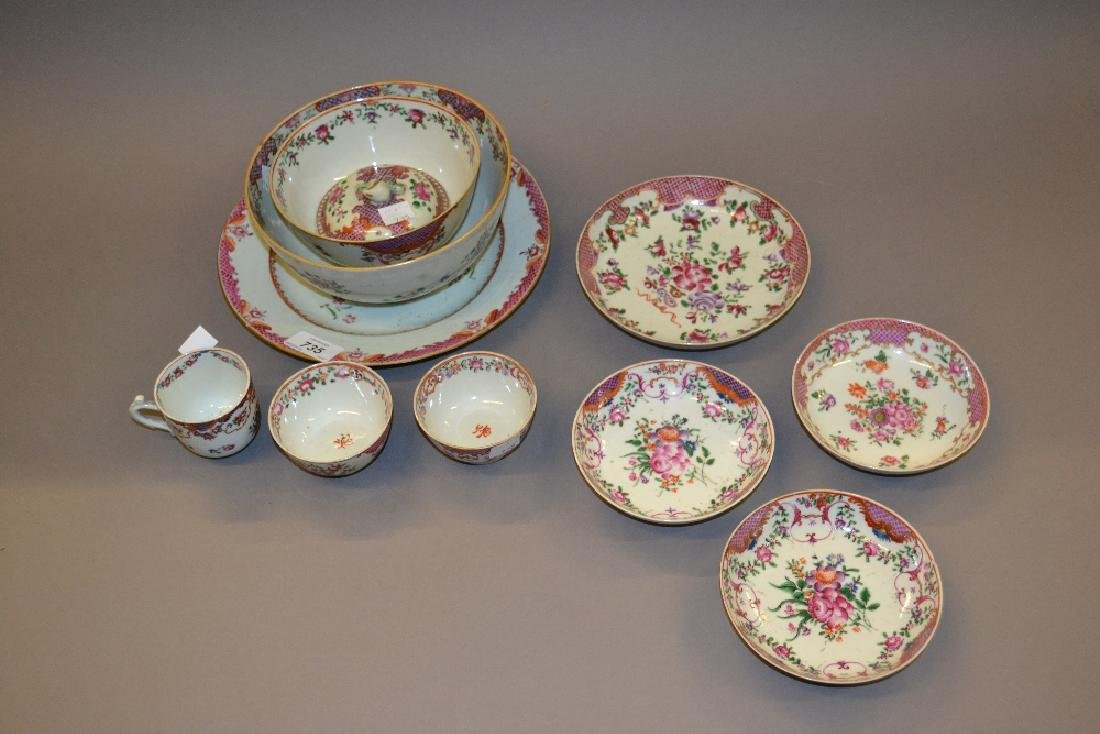 Chinese famille rose floral painted part tea service