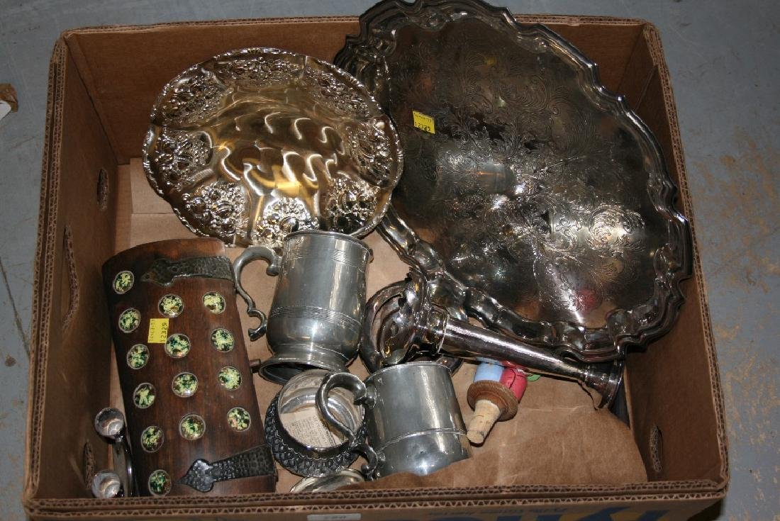 Quantity of plated items and a small wooden jewellery