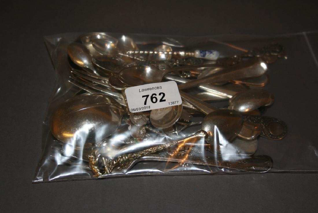 Set of six silver soup spoons, other miscellaneous tea