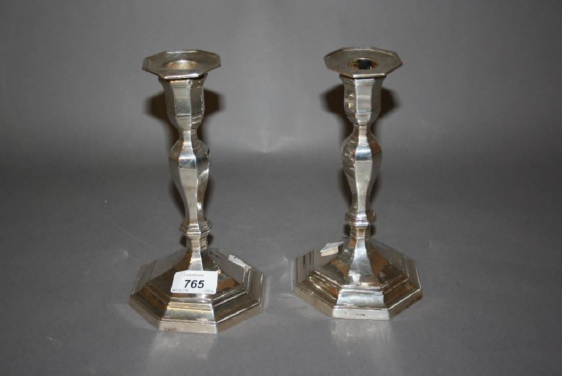 Pair of 20th Century Sheffield silver octagonal