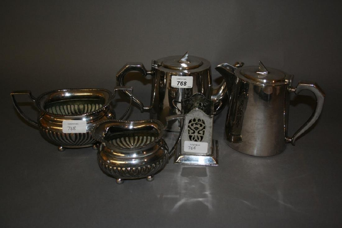 Silver plated Art Deco style teapot and hot water pot,