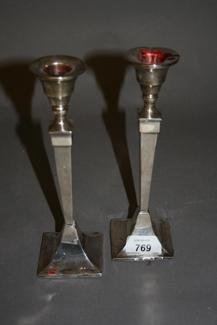 Pair of Chester silver candlesticks of square baluster