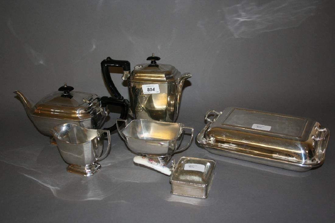 Art Deco four piece silver plated tea service, a plated