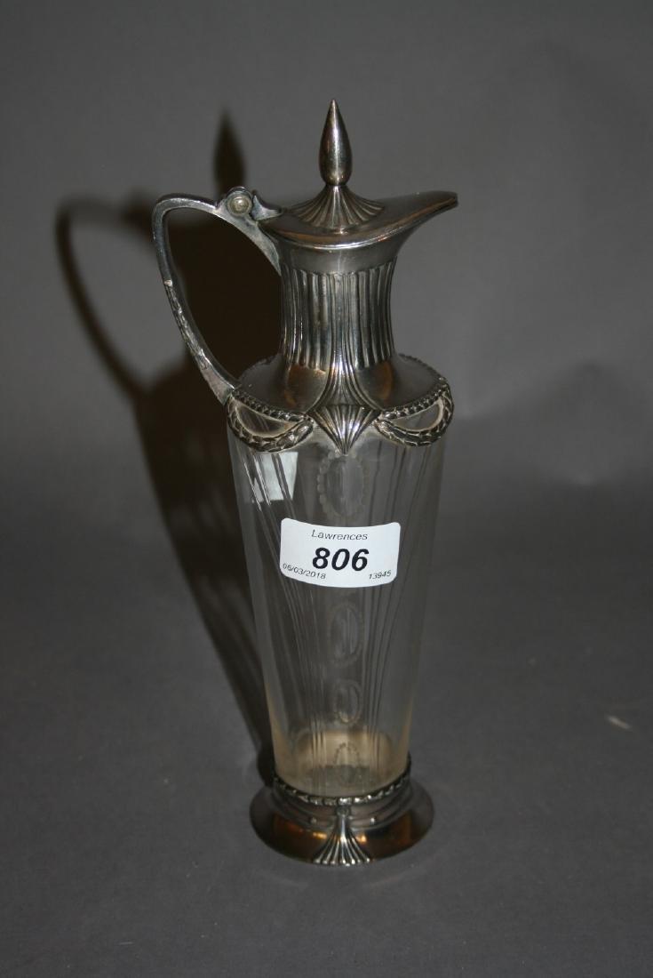 Continental silver plated cut glass lidded jug, 9.75ins