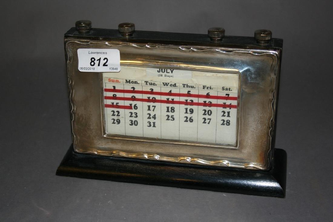 Birmingham silver mounted perpetual desk calendar