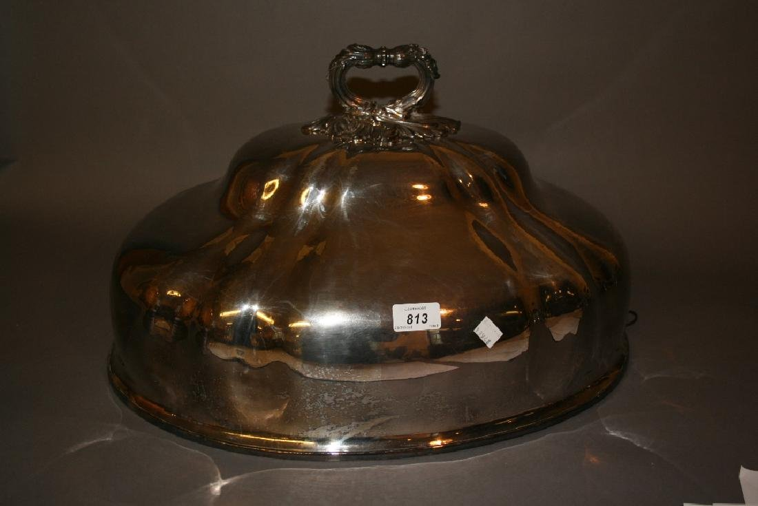 Large 19th Century silver plated meat cover