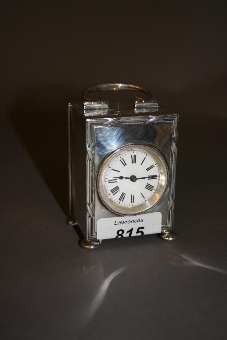 Birmingham silver cased mantel clock having circular