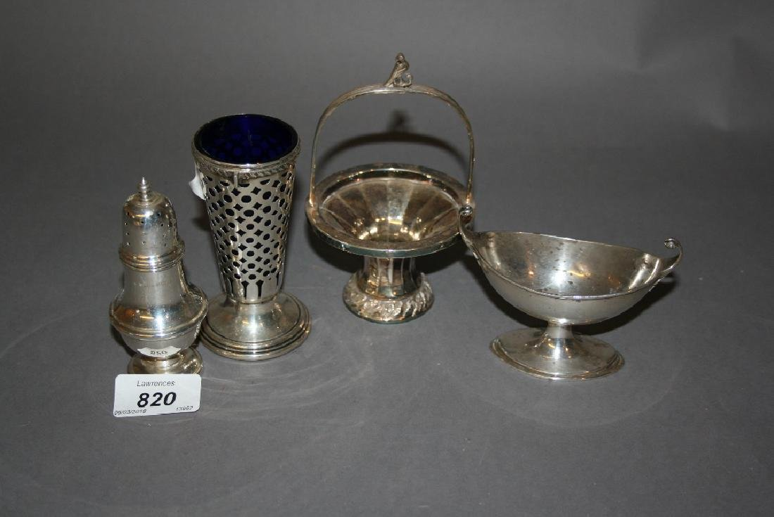Small Chester silver basket, oval Birmingham silver