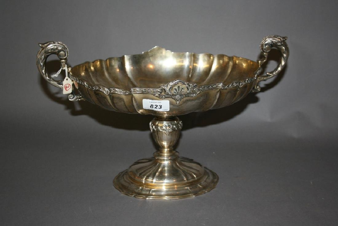 Large 20th Century oval silver two handled fruit bowl