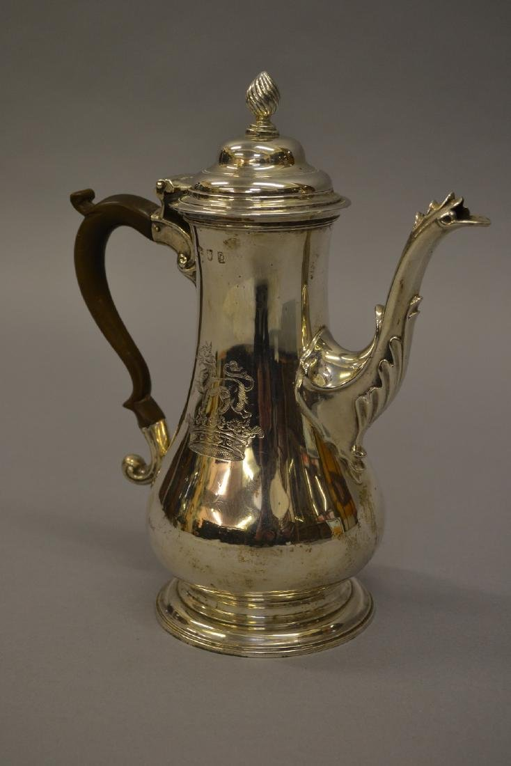 Early George III silver baluster form coffee pot with