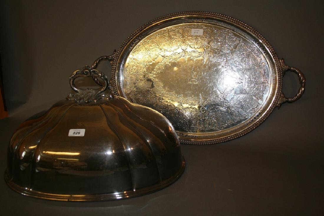 Large oval silver plated meat dish cover together with