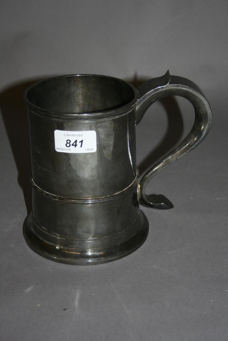George III silver quart mug with scroll handle,