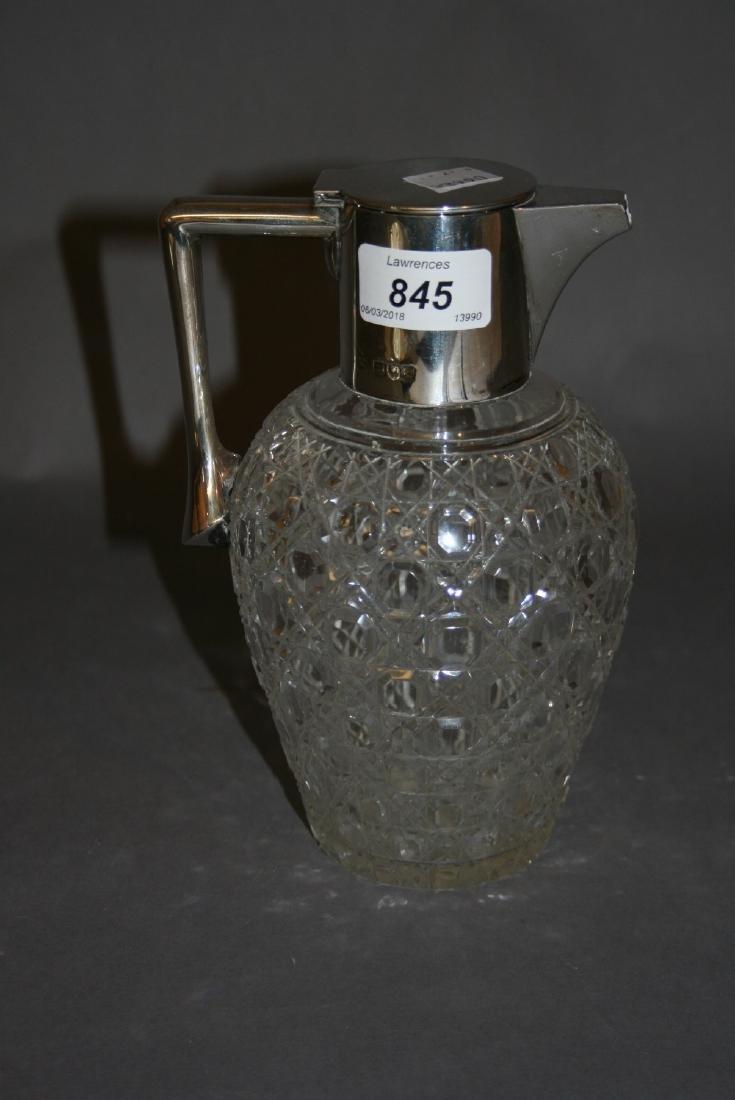 London silver mounted cut glass claret jug