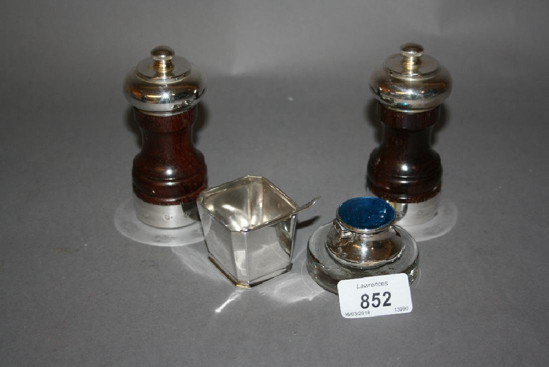 Pair of London silver mounted wooden pepper grinders