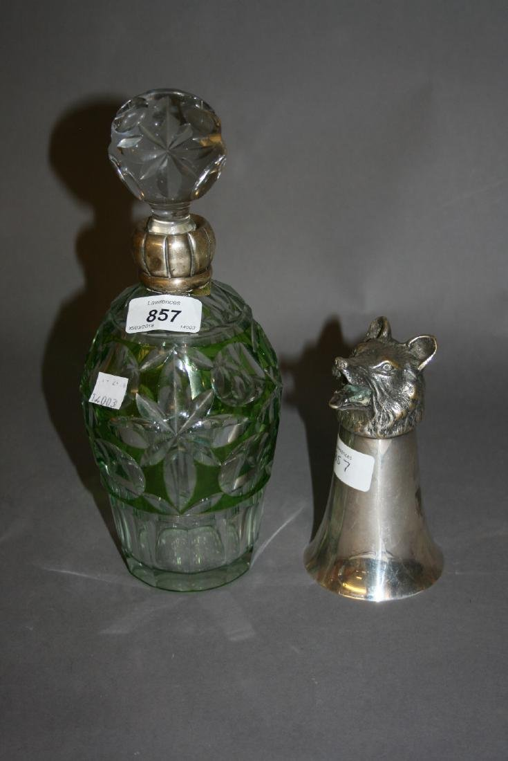 Green and clear cut glass silver collared decanter (at