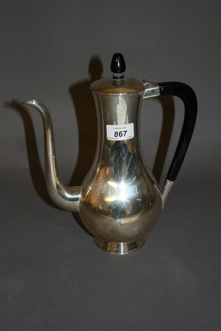 Sterling silver baluster form coffee pot