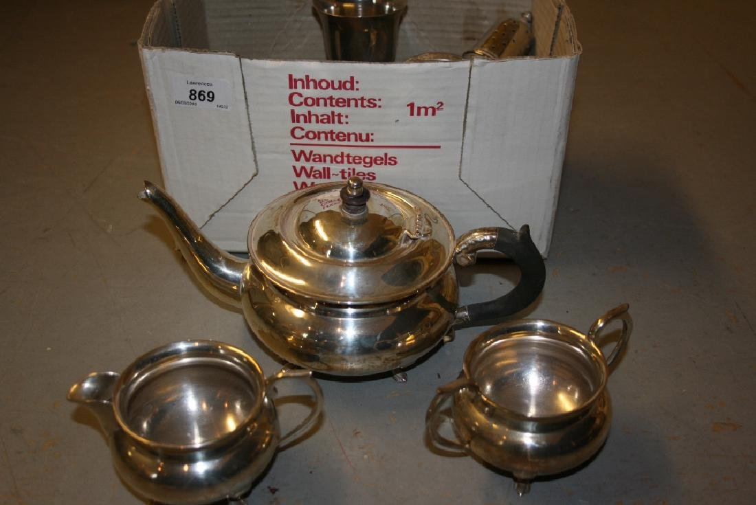 Silver plated three piece tea service and a small