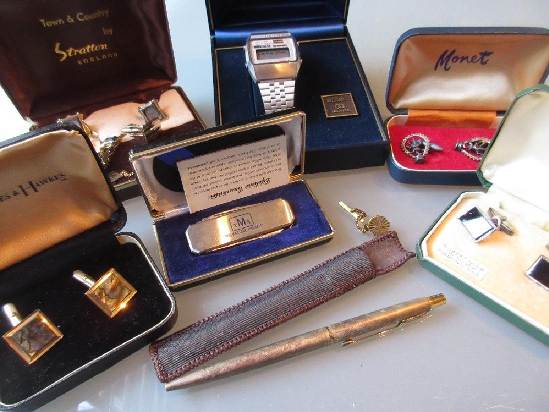 Group of various plated cufflinks, a Seiko boxed