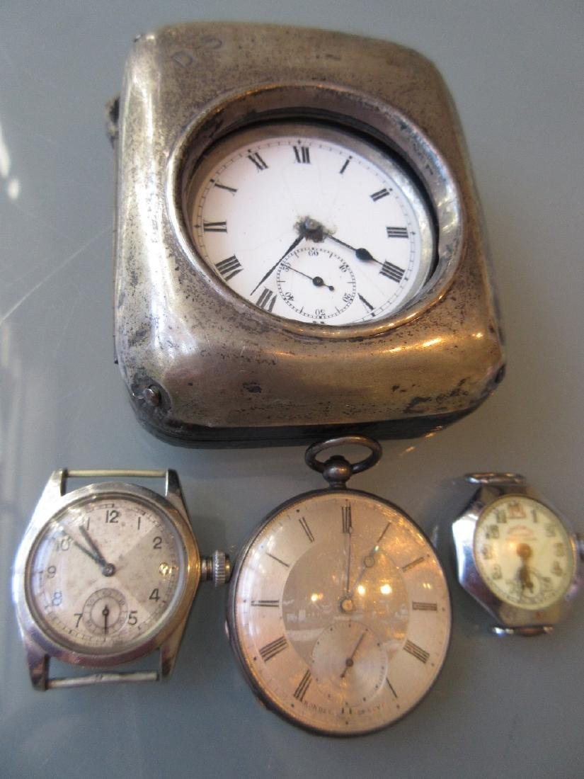 Pocket watch with silver case together with three other