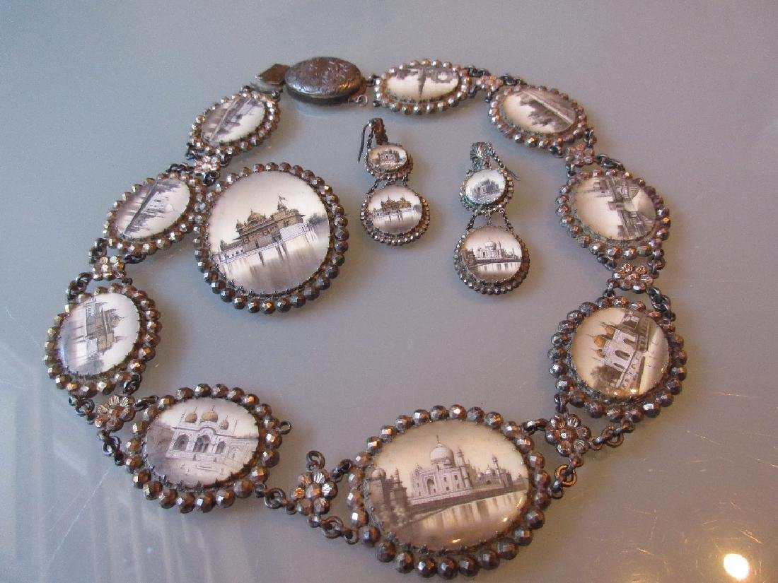 19th Century Indian white metal necklace inset with