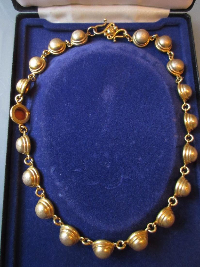 Silver gilt necklet in a fitted box