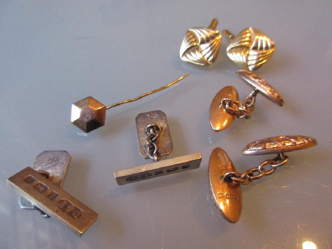 Two pairs of 9ct gold cufflinks, a pair of silver