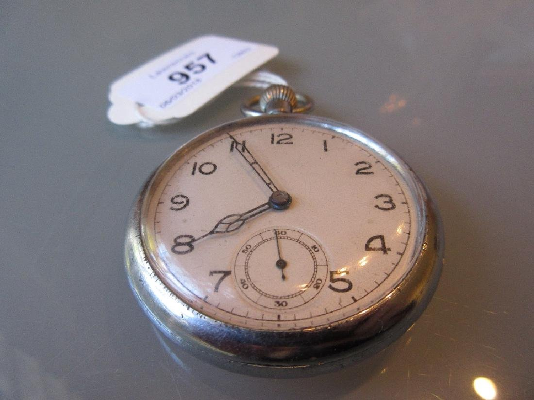 Military issue crown wind open face pocket watch