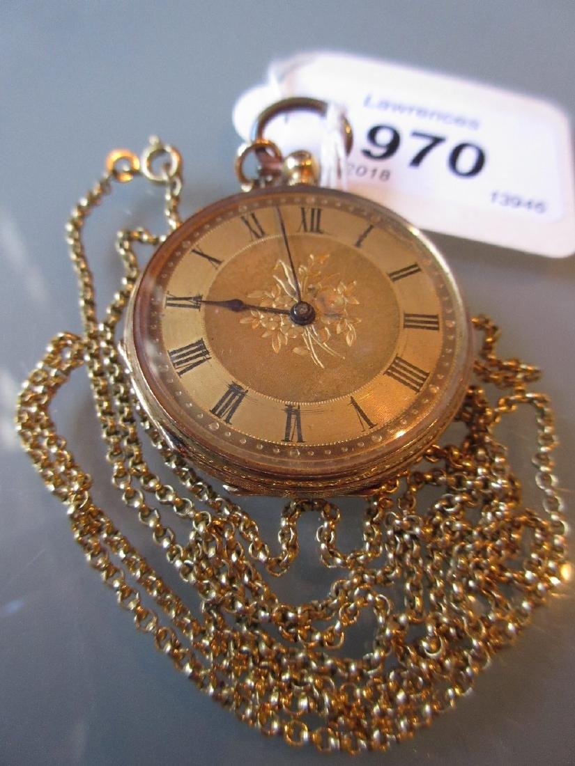 Continental 18ct gold cased open face keywind fob watch