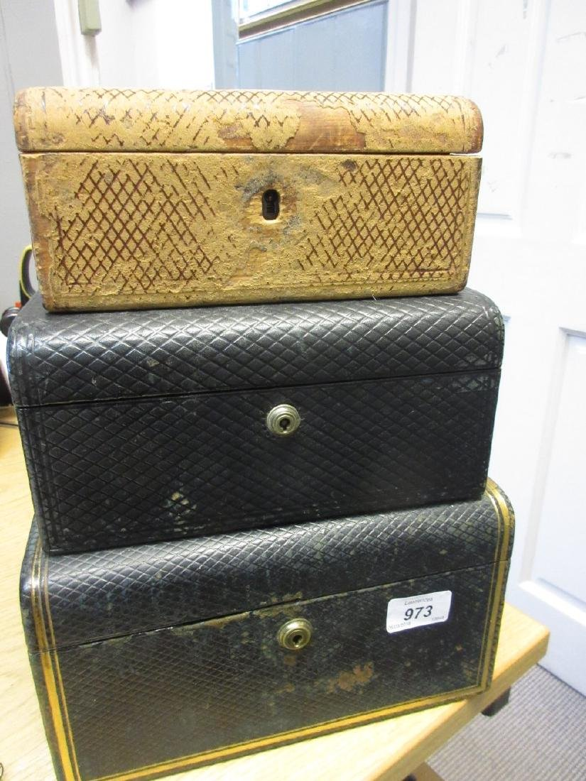 Three various leather jewellery boxes