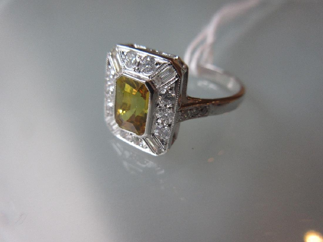 18ct White gold rectangular yellow sapphire and diamond