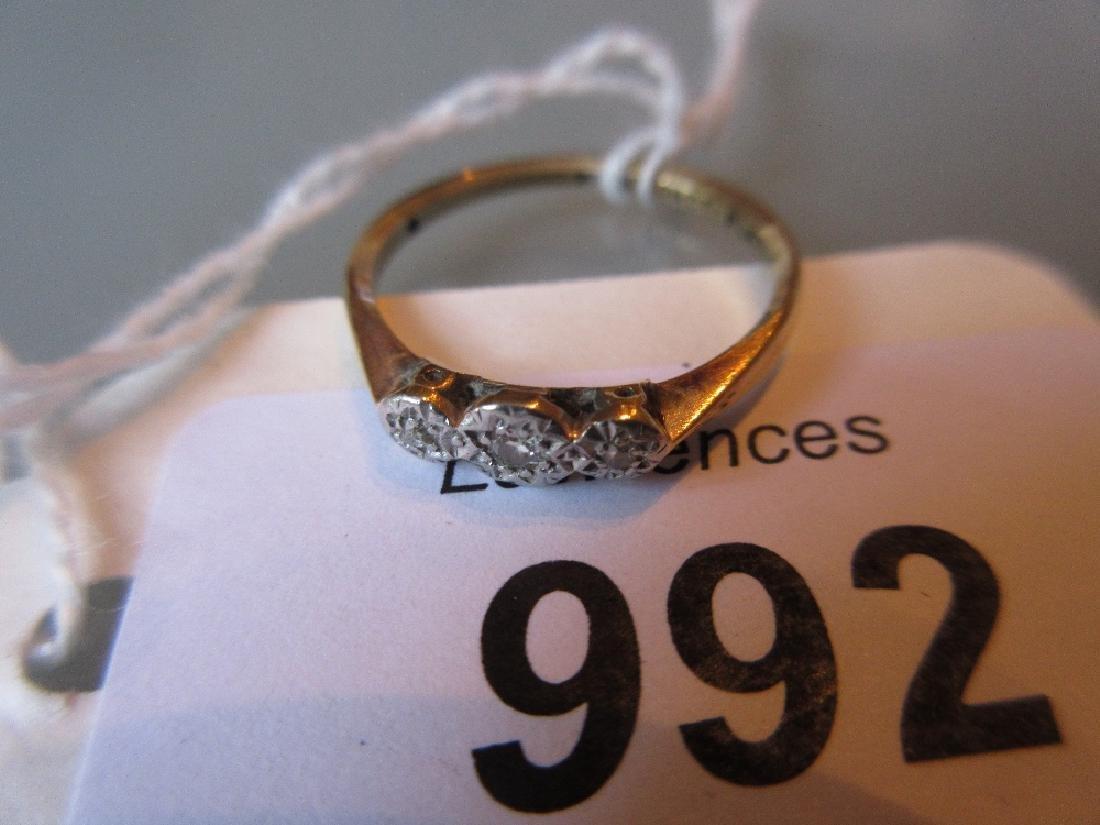 18ct Gold and platinum three stone diamond ring